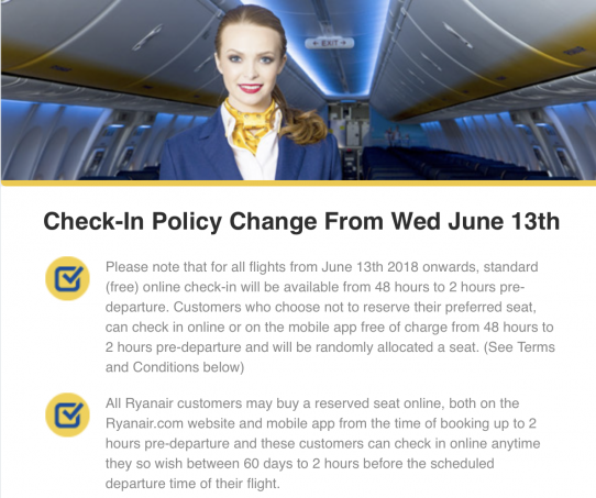 Ryanair's Online Check-in Policy changes | TAG Group